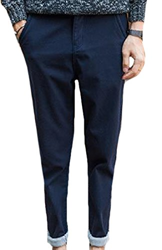 Autumn New Men's Business Casual Slim Trousers(Navy Blue) - 8