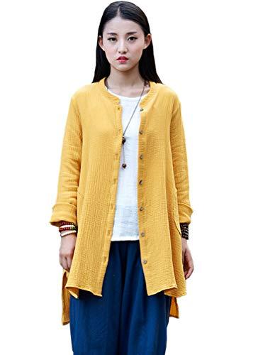 Soojun Women's Loose Fit Button Down Linen Cotton Cardigan Shirts Coat, Yellow, X-Large