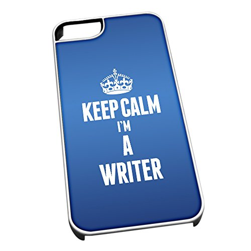 Bianco per iPhone 5/5S 2718 Blu Keep Calm I m un escritor
