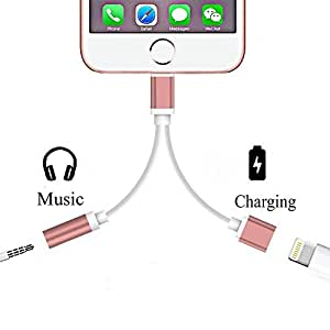 2 in 1 Lightning to 3.5mm Audio Adapter, ADABUNNY Lightning Charger, Lightning to 3.5mm Aux Headphone Jack Adapter for iphone 7/7 plus [No Calling Function and No Music Control] (2 in 1-rose gold)