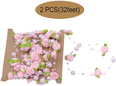 2Pcs Beads String Rose Pearl Bridal Bouquet Wedding Decorations Chain Decor