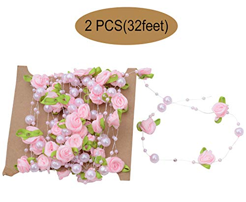 YYaaloa 32 Feet Rose Pearl Leaf String Beads Garland for Wedding Party Home Crafts Decoration DIY Accessory (Pink 32feet)