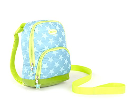 Nuby Quilted Baby Backpack with Safety Harness, Blue Stars
