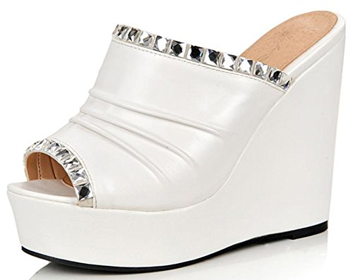 IDIFU Women's Sexy Rhinestone Peep Toe High Heels Wedge Platform Slide On Sandals White 7.5 B(M) US ()