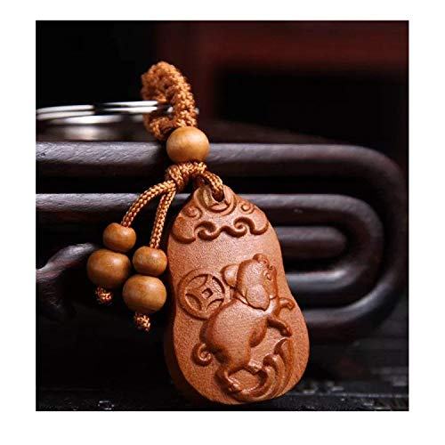 Feng Shui Chinese 2019 Zodiac Pig/Boar Key Ring Key Chain for Success and Wealth Luck(with Betterdecor Pouch) (Carved ()