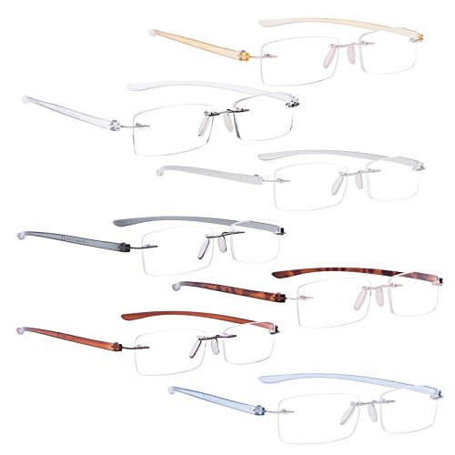 READING GLASSES 7 pack Mix Color Small Lens Rimless Readers +1.25