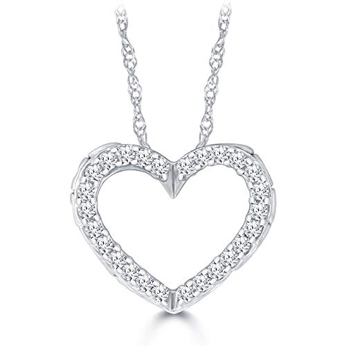 Triss Jewelry 1/10 Cttw Diamonds Heart Shape Pendant Necklace For Women In 10K White Gold.