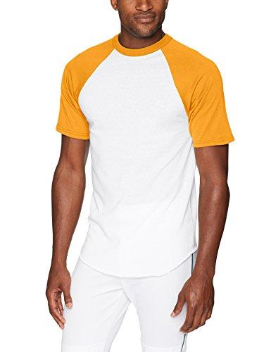 Augusta Sportswear manga corta playera de béisbol, blanco/dorado, X-large