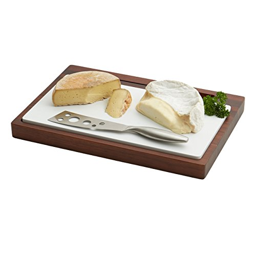 Woodard & Charles Acacia Cheese Board with Ceramic Board and (Charles Cheese Knife)