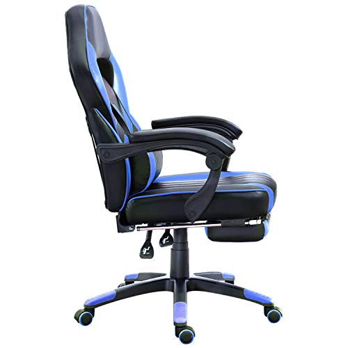 Samincom High Back Ergonomic Gaming Chair Racing Chair Napping Computer Office Chair Swivel Chair with Extra Soft Lumbar Cushion Padded Footrest Black Blue