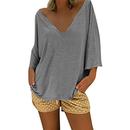 Womens Tunic Shirt Short Sleeve and Long Sleeve Blouses Tops Solid Color Shirts Loose T-Shirt