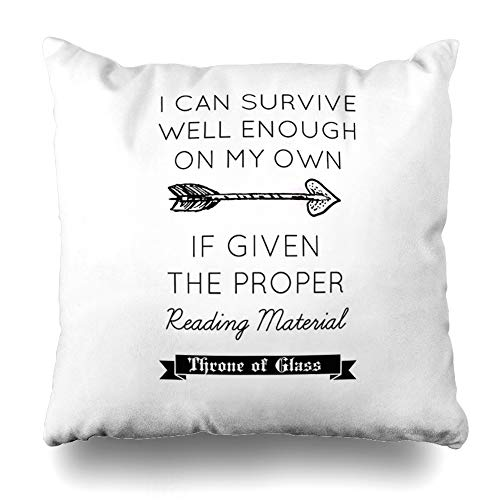 Ahawoso Throw Pillow Cover Square 16x16 Inches Throne of Glass Quote Decorative Pillow Case Home Decor Pillowcase