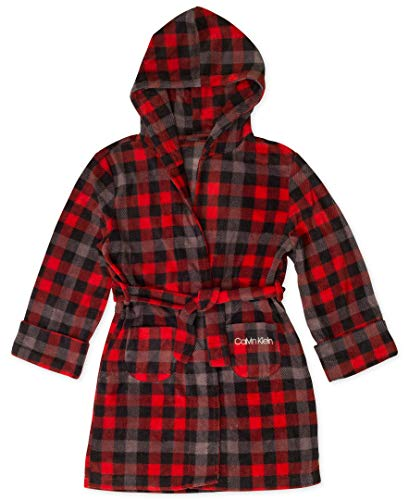 - Calvin Klein Boys' Big Robe Hood, Cozy Buffalo Plaid red L (10/12)