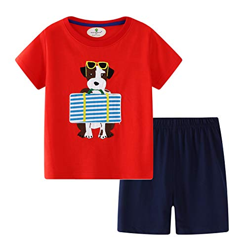Large Dog Clothing - BBBNice Toddler Boys Summer Outfits Short Sleeve Playwear Cotton Sets Dog 5t