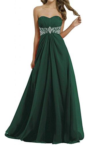 Toscana novia elegante del corazón de la forma de la estrella de la gasa de los vestidos de noche largo del partido duro damas de honor vestidos de fiesta Dunkel Gruen 50