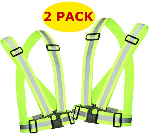 Reflective Running Vest Gear 2 Pack | Hi Vis Made of Silver Reflector Tape | Adjustable, Lightweight, Elastic Reflective Vest | Safety Vests for Women, Men & Jogging, Cycling, Dog-Walking, Car | XL