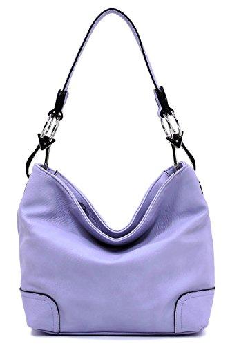 Elphis Fashion Classic Shoulder Bag Hobo Bucket Handbag Purse (Lilac Fashion)