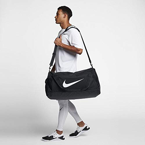 NIKE Brasilia Training Duffel Bag, Black/Black/White, Large