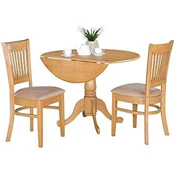 East West Furniture DLVA3 OAK C 3 Piece Kitchen Nook Dining Table Set, Oak  Finish