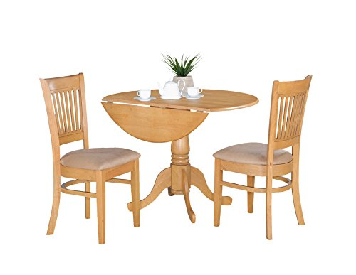 East West Furniture DLVA3-OAK-C 3-Piece Kitchen Nook Dining Table Set, Oak Finish (Drop Round Leaf Table)