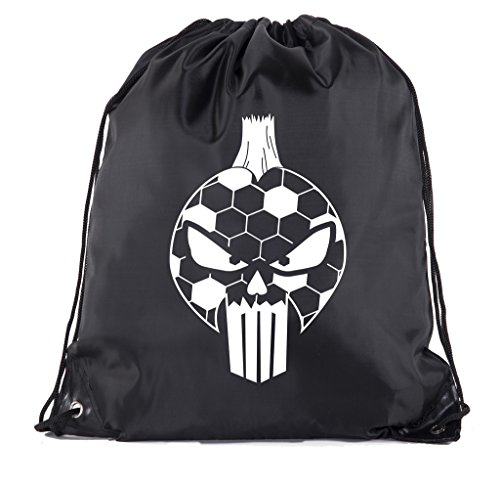 Soccer Party Favors | Soccer Drawstring Backpacks for Birthday Parties, Team events, and much more! - 10PK Black CA2500SOCCER -