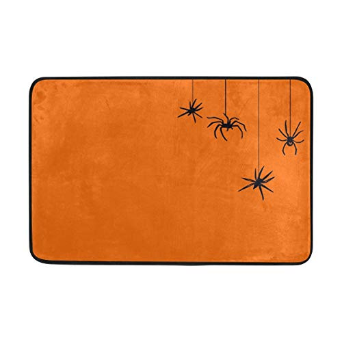 Thomas Eugene Halloween Spiders Pumpkin Color Carpet Polyester Fabric Single-Sided Printing Non-Slip 23.6x15.7 inch ()
