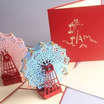 Handcrafted 3D Pop Up Ferris Wheel Greeting Card Birthday Wedding Party Invitation Card^.