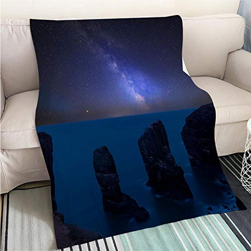 ract Home Decor Printing Blanket Vibrant Milky Way Composite Image Over Landscape of Elegug Stacks on Pembrokeshire Coast in Wales Hypoallergenic Blanket for Bed Couch Chair ()
