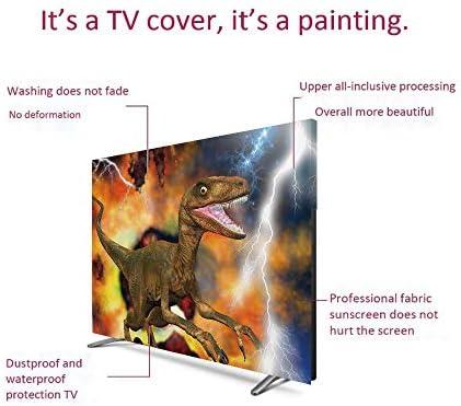 恐竜 液晶テレビカバー 北欧風 防塵 汚れ防止 65インチのテレビに適用 装饰布 テレビを見ることができる 防風 変な顔をした漫画のTレックスは 雲の木を強打する空を飾り