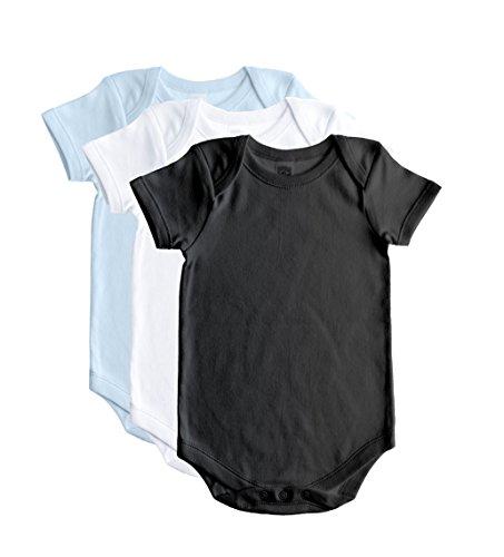 Baby Jay Cotton Onesies - Short Sleeve Lap Shoulder - WSSE Blue Blk White 6-12