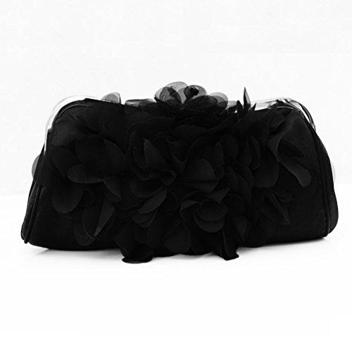 SHISHANG Bag Mobile Ladies Black Silk ZYXCC Evening Flower Phone Handbags Cosmetics Messenger Bag HrHcTqvWw