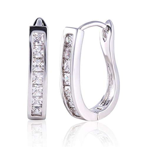 O&W Bijoux Women Earring 18K White Gold Plated Hoop Earrings Senhoras CZ Earings Horseshoe Fashion Brinco Argola E303a