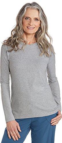 Coolibar UPF 50+ Women's V-Neck T-shirt - Sun Protective (XX-Large - Grey Heather) XX-Large Grey Heather - Lightweight Spf 20 Sunscreen