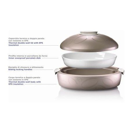 ENJOY INSULATED FOOD SERVER WITH OVENPROOF DISH ''TUTTOCALDO GOURMET'' 3 Lts - WHITE by Enjoy
