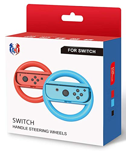 GH Small Sizes Switch Steering Wheel for Kids , Mario Kart 8 Deluxe Racing Wheel for Nintendo Joy Con Controller - Neon Blue and Red