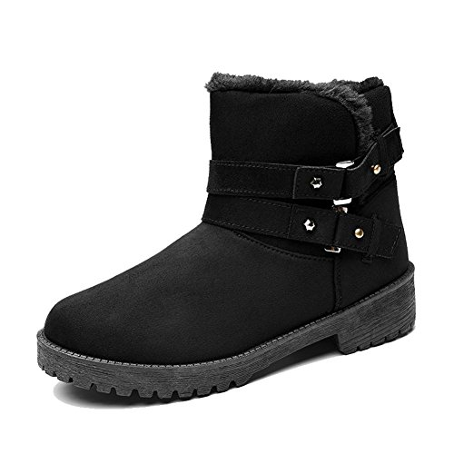 Female Short Boots Cotton Low Flat Heel Warm Casual Thicker Plush Winter Ankle Shoes BLACK-41 d4mTLSq