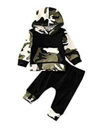 Infant Baby Boys Camouflage Hoodie Tops +Long Pants Outfits Set Clothes 0-3Y