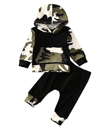 Moore Infant Baby Boys Camouflage Hoodie Tops +Long Pants...