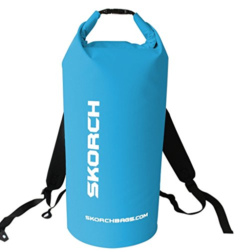 SKORCH Original Waterproof Backpack Dry Bag 30 litres. Protects Your Gear From Water and Dirt While You Have Fun. Beach, Kayak, Paddle Board, Camping, Sailing and Skiing. (Turquoise with White)