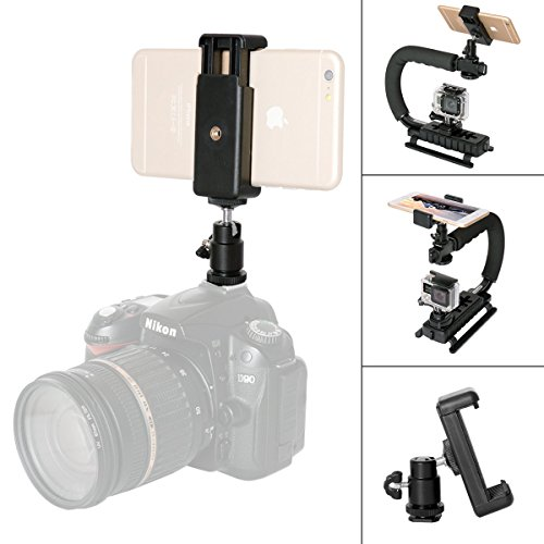 DSLR Camera Hot Shoe Smartphone Mount Monitor Mount w/Cellphone Clip (UP to 5.5 Screen) Compatible with Nikon Canon Sony Pentax Olympus Ricoh Panasonics Lumix Casio DSLR Camera/Mirrorless Camera