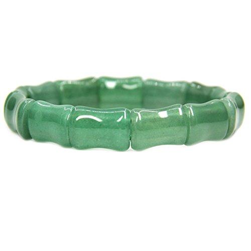 (Amandastone Gemstone Natural Green Aventurine Bamboo Festival Beaded Stretchable Charm Bracelet 7