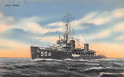 Military Battleship Postcard, Old Vintage Antique Military Ship Post Card USS Raven 1943 Missing Stamp
