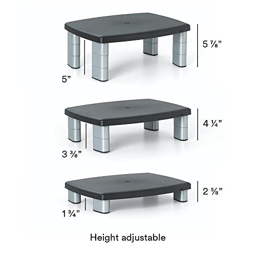 "3M Adjustable Monitor Stand, Three Leg Segments Simply Adjust Height From 1"" to 5 7/8"", Sturdy Platform Holds Up to 80 lbs, 11-inch Space Between Columns for Storage, Silver/Black (MS80B)"
