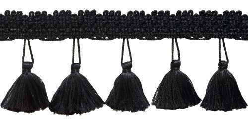 2.5 Inch Tassel Fringe Trim, Style# ETF Color: BLACK - K9, Sold By the - Fabric Tassel Black