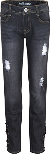 6' Wash (dollhouse Girl's Denim Jeans with Lace-Up Bottoms and Rips, Black Wash w/ Lace, Size 6')