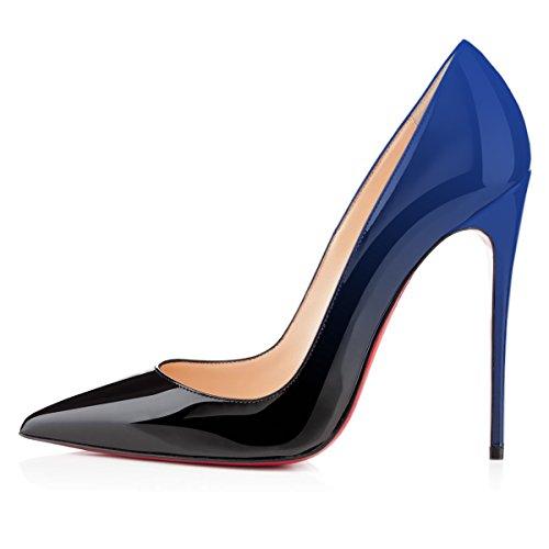 Donna Cerimonia Sexy Con Nero Usura Merumote Scarpe Per Le E Da Di Tacco Spose Punta Blu Solito Tacchi A Spillo brevetto ICq4Ow