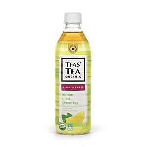 Teas' Tea Organic Lightly Sweet, Lemon Mint Green Tea, 16.9 Ounce (Pack of 12), Organic, Cane Sugar Sweetened, No Artificial Sweeteners, Antioxidant Rich, High in Vitamin C
