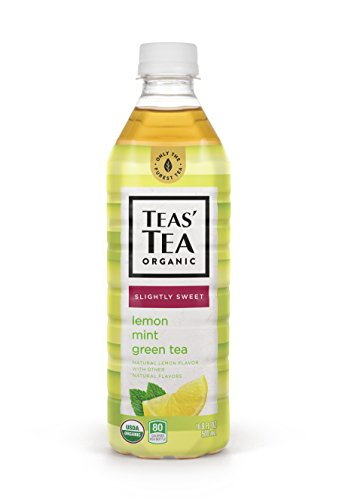 Teas' Tea Organic Lightly Sweet, Lemon Mint Green Tea, 16.9 Ounce (Pack of 12), Organic, Cane Sugar Sweetened, No Artificial Sweeteners, Antioxidant Rich, High in Vitamin C