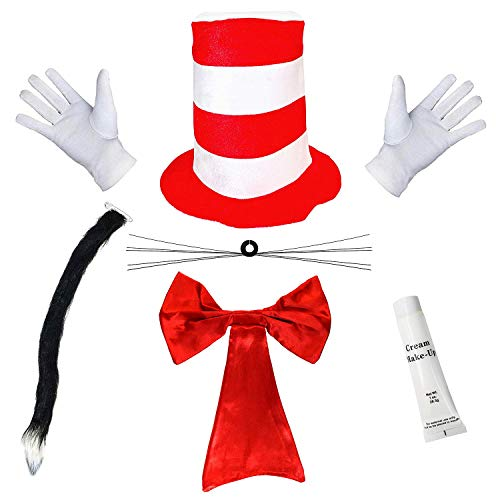 ADULTS CRAZY CAT COSTUME WORLD BOOK TOP DAY HAT GLOVES BOW TIE TAIL FANCY DRESS