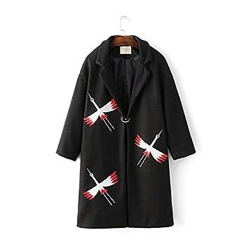 Gucci ~ 9a11c Korean Women aves bordado en la camiseta de manga larga de lana abrigo